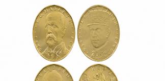 đồng xu cũ kỷ niệm 100 ngày Tiệp Khắc