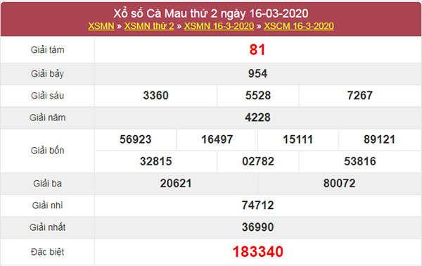 Soi cầu VIP Cà Mau 23/3/2020 - Thống kê KQXSCM thứ 2
